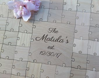 50 pcs Custom Wedding Guest Book Puzzle with Mixed Grain Pieces