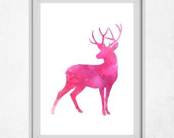 Deer Art Prints, Pink Grey Wall Art, Printable Deer Art, Pink Prints, Deer Wall Art, Pink Nursery, Girl Nursery Art Prints, Baby Girl Pink