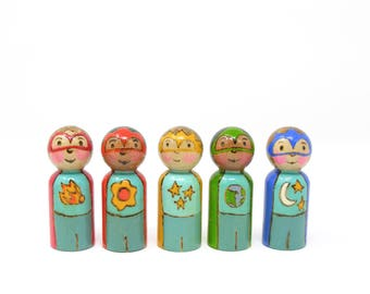 Space Heroes set of 5, wooden peg dolls, painted peg people, wooden kids toy, handmade toy, super hero play, space toy, hero peg doll