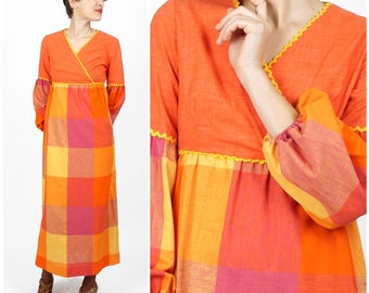 Vintage 1970s Bright Orange & Yellow Plaid Maxi Dress with Puffed Bishop Sleeves and Yellow Rick Rack Trim by E. D. | Small