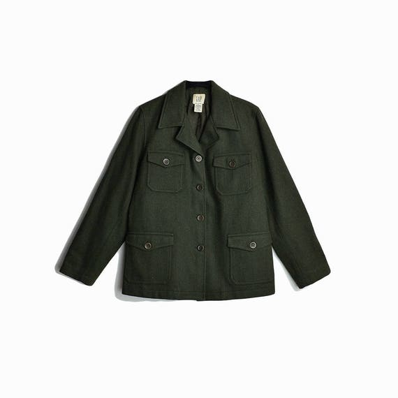 Vintage 90s GAP Green Wool Field Jacket / Military Style Utility Coat - women's medium