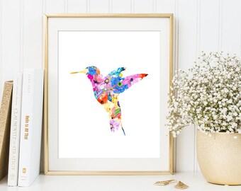 Beau Hummingbird Flower Art   Watercolor Flower Painting, Hummingbird Gift Idea, Hummingbird  Home Decor,