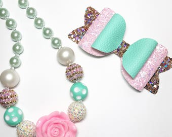 bubble gum necklace, chunky bead necklace, photo prop necklace, flower girls necklace, gold glitter bow, girls headband