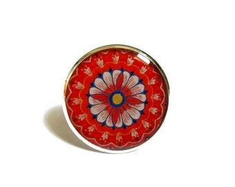 MANDALA RING - mandala jewelry - red ring - adjustable ring - BOHO ring - Bohemian ring - meditation -  indian jewellery - gift for her