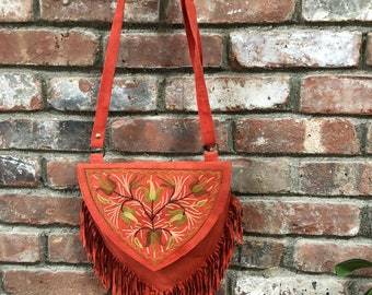 """10""""Lx 9""""Hx 0.5W Black Rose- Sweetheart Boho Chic  Embroidered Crossbody Handbag Suede~ Leather  with Fringe by Kashmirvalley.com"""