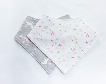 UNICORN & STARS Bib Set Baby Gift Set / Baby Bib Set / Baby Gift / Bandana Bib Set / Drool Bib / Baby Girl Bib / Burp Cloth / Bib Set