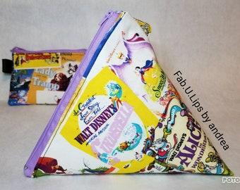 2pc Walt Disney triangle wristlet, tepee cosmetic bag, pyramid clutch, 9x9x9, handle, zipper, matching coin purse