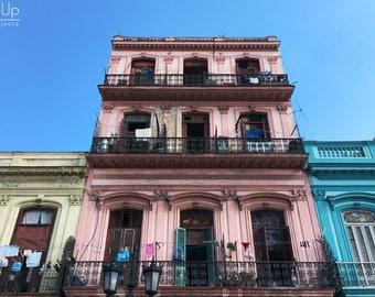 Digital Photography Pink Building in Havana, Cuba, Living Room Ideas And Decor