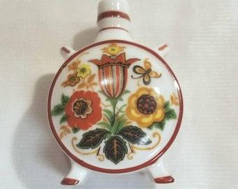 Hungarian Zsolnay Porcelain Miniature Canteen- Flask - Missing Cork/Lid - Floral Design