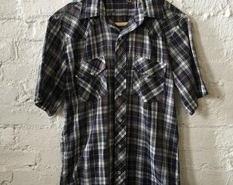 Vintage VIP Western Style Plaid Slim Fit Short Sleeve Shirt
