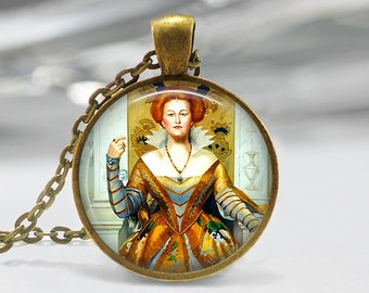 Queen Painting Pendant, Woman Portrait Painting Pendant, Old Master Art Necklace, Women Ruler Jewelry, Bronze, Silver, Vintage Painting 346