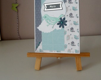 Thank you card friendship card, blue and white card with bird