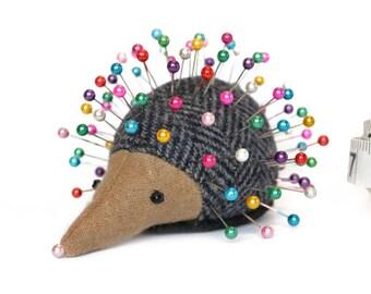 Pincushion, Hedgehog, upcycled wool, handmade, Patchouli Poppyseed