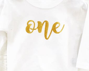 Sparkly Gold One T-Shirt, I am one, First Birthday