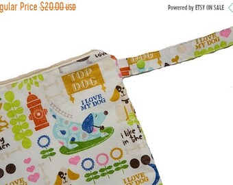 Spring Sale Puppy Love- 14x14 Sweet Bobbins Wet Bag - SEAM SEALED - Snap Strap - Boutique Quality