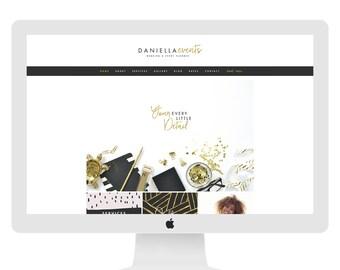 Wix Website Template, website design, custom website design, wix website design, event planner logo,wedding planner gold, black, D4109