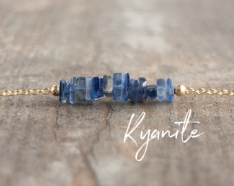 Blue Kyanite Necklace, Inspirational, Chakra Necklace, Gemstone Choker, Gift for Her, Gift for Friend, Healing Crystal, Raw Kyanite Jewelry