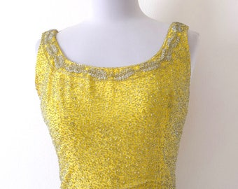 Vintage 60s Canary Yellow Beaded Scoop Neck Crop Top (size xs, small)