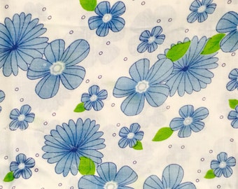 Floral  Fabric / Blue Floral Fabric / Blue and Green Floral Fabric / Flowers Fabric / Retro Fabric / Quilting Fabric / By The Yard