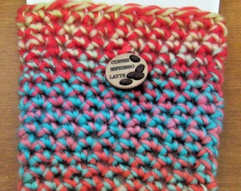 Insulated Pink and Blue Coffee Cup Cover Cozi, Fits Starbucks Grande or Venti Size Hot or Cold Cups Crochet Round Button on Top, Stretchy