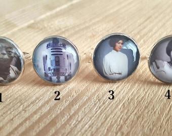 Adjustable ring Star Wars / Bijou original / R2D2 / Yoda / Leia Organa