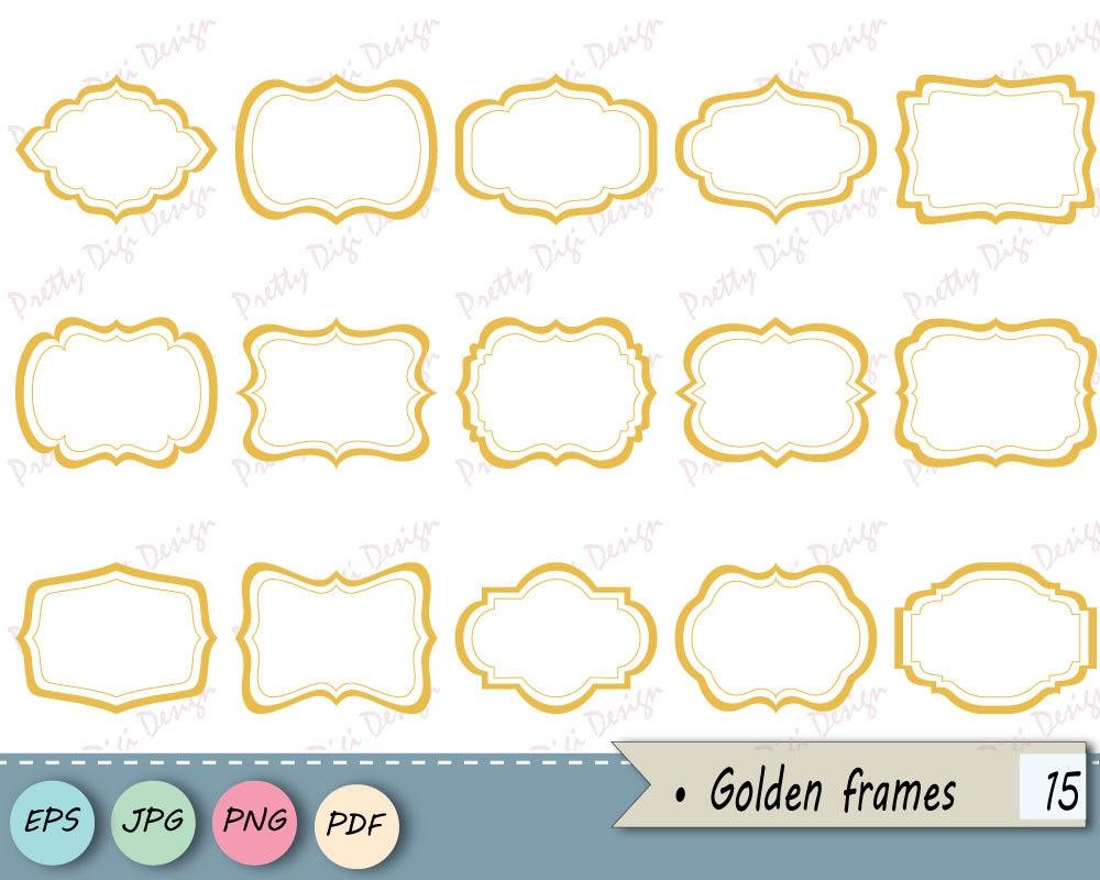 Instant download clipart Golden Frames PNG, JPG, vector eps, Labels ...