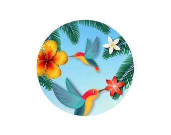 1 cabochon 25 mm glass tropical Hummingbird Duo - 25 mm
