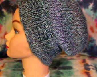 Blue Slouch Knit Hat