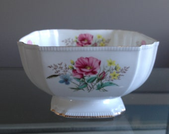 Aynsley Square Footed Bowl With Gold Trim, Bone China