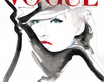 German Vogue Painting Print, Vogue Cover Art, Fashion Illustration, Fashion Watercolor, Vogue Cover, Cate Parr, Vogue Wall Art