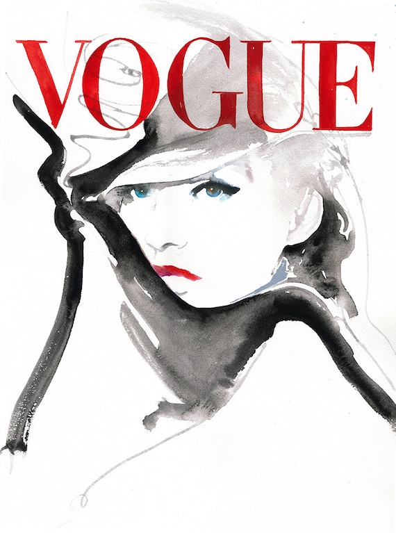 German vogue painting print vogue cover art fashion