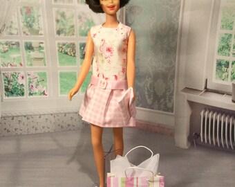 Francie , Casey, Twiggy Doll   Fashion OOAK Dress , Clutch  bag, shopping bag