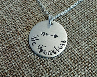 Be Fearless Inspiration Necklace, Motivational Necklace, Mantra Necklace, Graduation Gift, Fearless Necklace