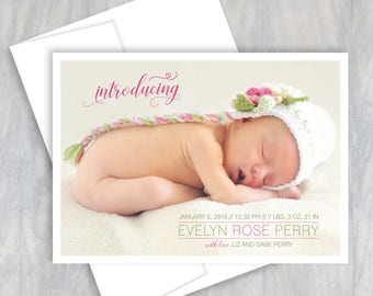 Birth Announcement Card, Photo, Baby Announcement, Personalized, Baby Boy, Baby Girl, New Baby, Printable, Newborn, Baby Stats, Birth Stats