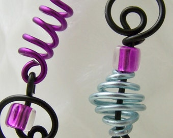 Handmade Aluminum Mix Up earrings in purple, pale blue, black  ITEM NO MU7