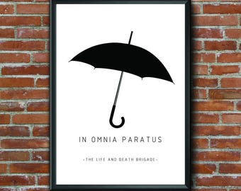 In Omnia Paratus, Gilmore Girls, The Life and Death Brigade, Digital Art, Printable Art, Umbrella, Black White Print, Home Decor, Wall Art,