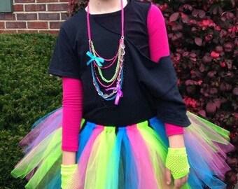 Girls 80s costume- 80s costume- 80s Halloween costume- 80s tutu- neon tutu- neon costume-rockstar tutu-rockstar costume-rockstar birthday