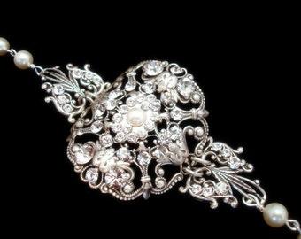 Cuff Wedding bracelet, Crystal bridal bracelet, Wedding jewelry, Vintage bracelet, Antique silver bracelet, Swarovski crystal bracelet