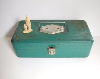 Vintage Tool Box, Victor Green Metal Tool Box, Industrial Decor, Rusty, Chippy, Pretty, Shabby Metal Tackle Box