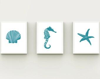 Coastal wall art, beach bathroom set 3, printable Beach decor, bathroom decor, beach wall art, Seashell Starfish Seahorse, blue modern Beach