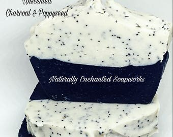 Unscented Charcoal Soap, Charcoal Kaolin Clay & Poppyseeds Handmade Soaps, Fragrance Free Natural Soap bar, Cold Process soap