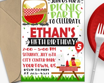Picnic Birthday Invitation | Picnic Party Invitation | Summer Birthday Invitation | Park Party Invitation | Digital Invitation |Design 17047