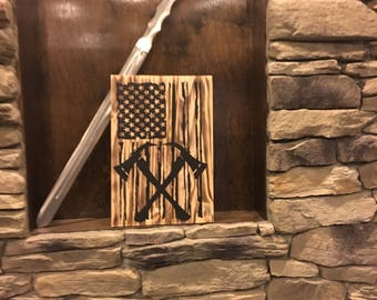 Fireman Sign   Fire Fighter Sign   American Flag Sign   Wood American Sign    Wood