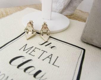 Double triangle stud earrings