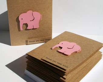 Baby Shower Thank You Cards - Baby Thank You Cards - Pink Elephants -Thank you Cards - Pink Thank You Cards - 50