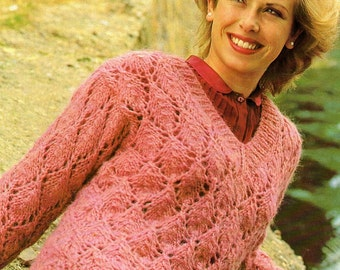 Ladies V Neck, Bulky Knit, Sweater, Knitting Pattern. PDF Instant Download.