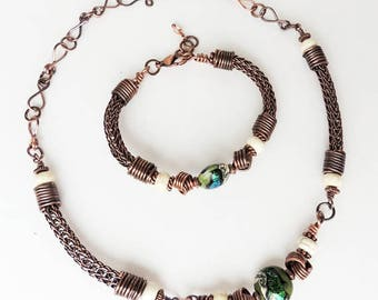 Handmade Viking Knit Bracelet and Necklace Set with Magnesite & Murano Beads, Copper Findings