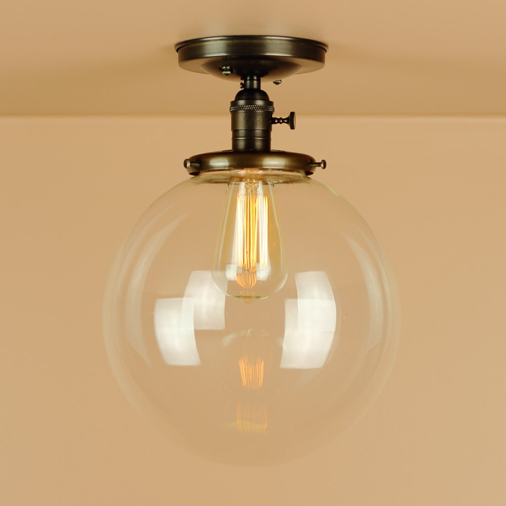 Semi flush light wx large 10 inch clear glass globe hand zoom mozeypictures Choice Image