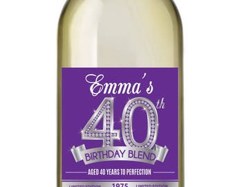 40th Birthday Wine Labels • Personalized Birthday Wine Label