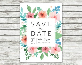 Bright Floral Save The Date Invitation - Customizable